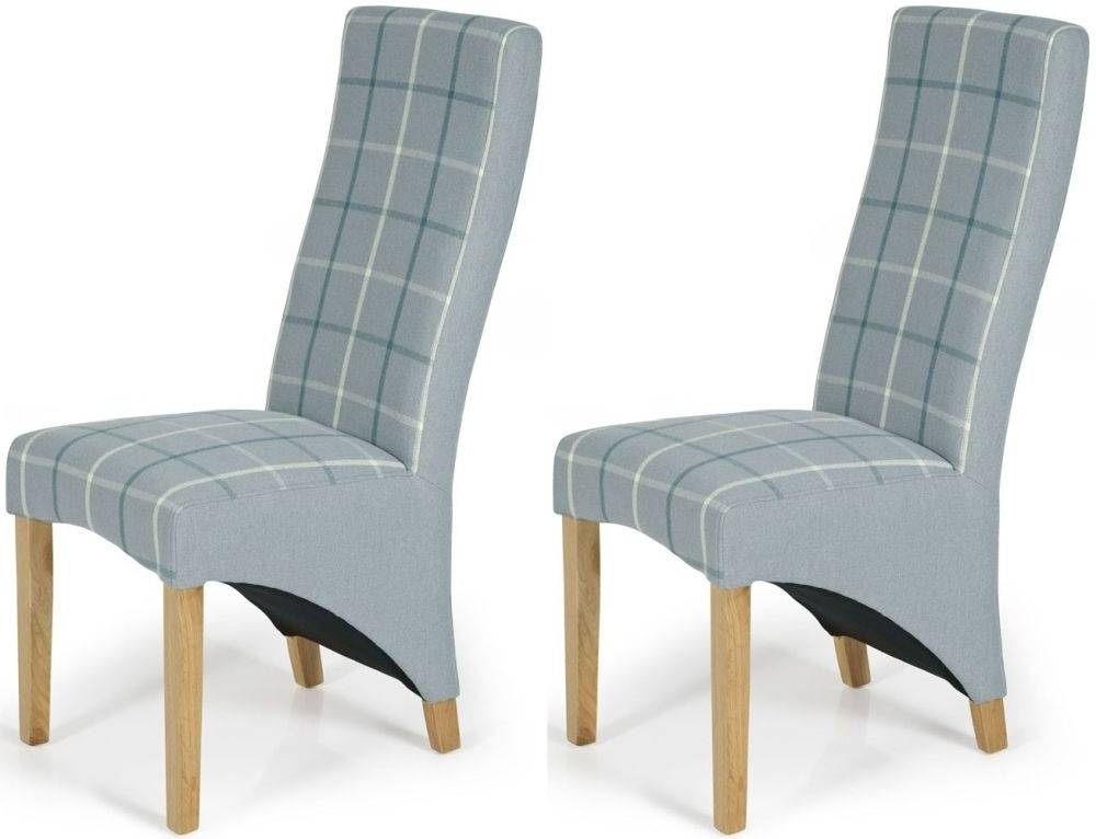 Latest Buy Serene Hammersmith Archer Tartan Fabric Dining Chair With Oak Throughout Oak Fabric Dining Chairs (View 2 of 20)