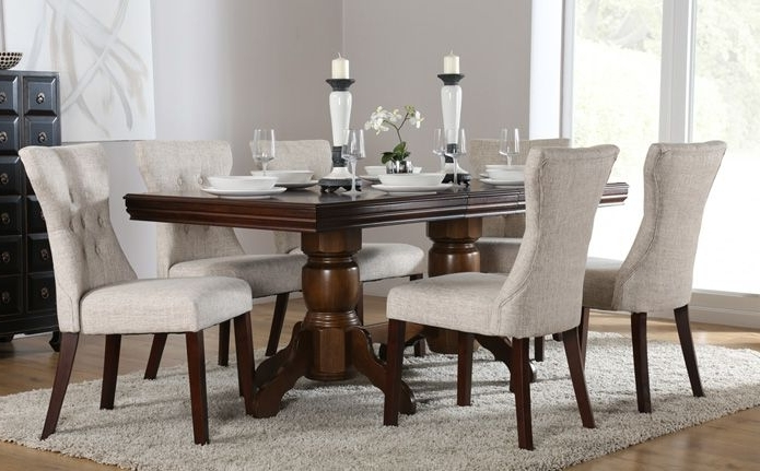 Latest Chatsworth & Bewley Dark Wood Extending Dining Set (oatmeal Inside Chatsworth Dining Tables (View 15 of 20)