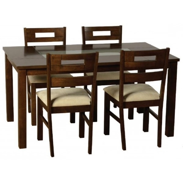 Latest Cheap Glass Dining Tables And 4 Chairs Inside Cheap Seconique Chatsworth Walnut & Frosted Glass Dining Table Set (Gallery 5 of 20)