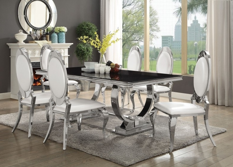 Latest Chrome Dining Room Sets In Coaster Antoine Chrome Dining Table – Antoine Collection: 7 Reviews (Gallery 6 of 20)