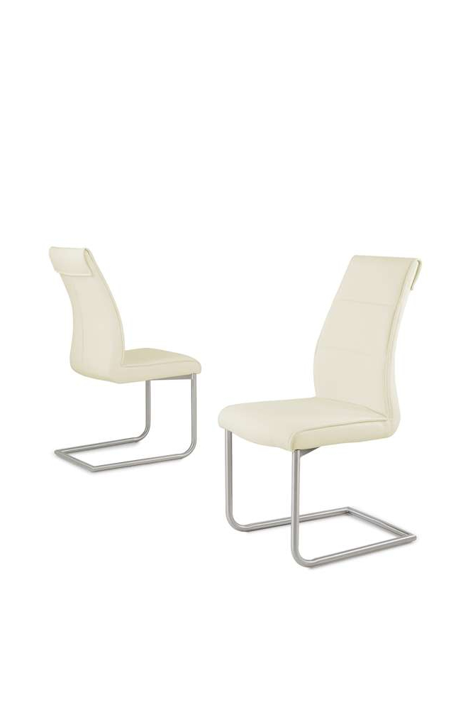 Latest Cream Faux Leather Dining Chairs In Cream Faux Leather Dining Chairs With Chrome Legs – Homegenies (View 9 of 20)