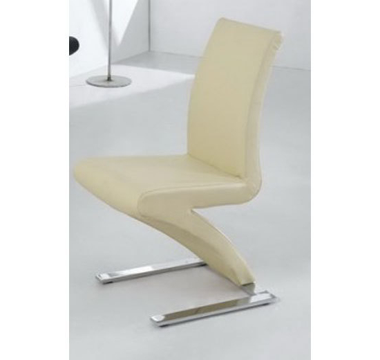 Latest Cream Faux Leather Dining Chairs Inside 8 Dining Chairs Mix Leather Chrome In Cream – Homegenies (View 10 of 20)