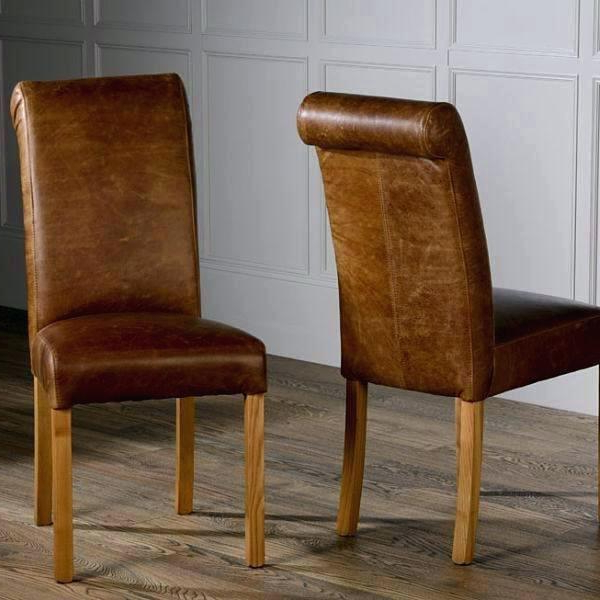 Latest Dark Brown Leather Dining Chairs Within Brown Leather Dining Chairs Brown Leather Dining Chairswilly Set (View 11 of 20)
