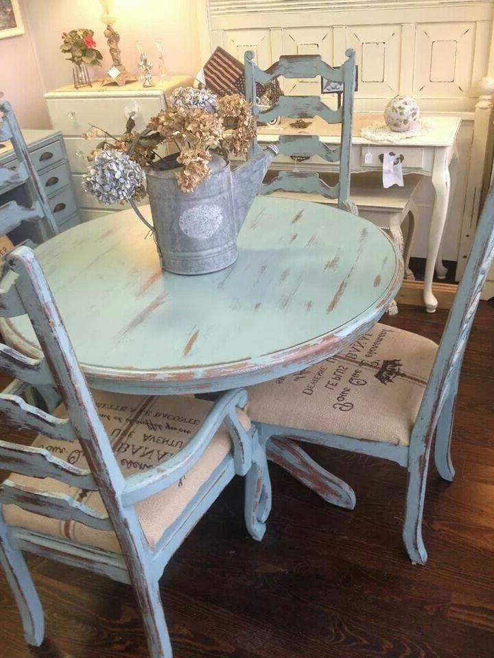 Latest Distressed Pale Blue Shabby Table And Chairs – Modern Dining With Blue Dining Tables (View 12 of 20)