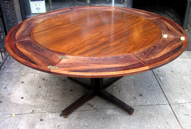 Latest Drylund Round Rosewood Extension Dining Table *sold* – White Trash Nyc Regarding Extended Round Dining Tables (Gallery 12 of 20)