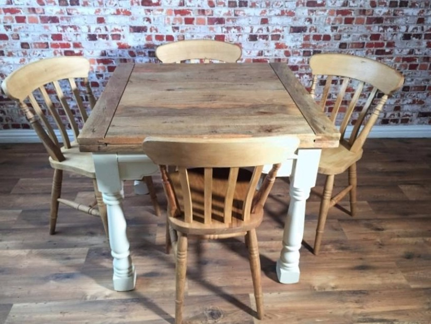Latest Extending Rustic Farmhouse Dining Table Set – Drop Leaf Painted In Inside Drop Leaf Extendable Dining Tables (View 14 of 20)