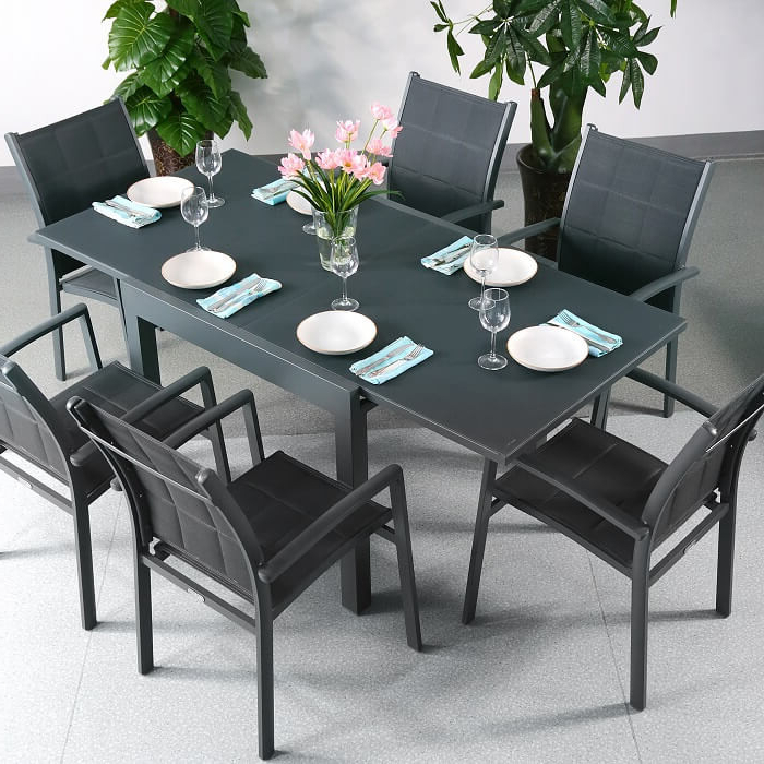 Latest Garden Table Set Chloe Grey – 6 Person Aluminium & Glass Extending In Extending Outdoor Dining Tables (View 11 of 20)