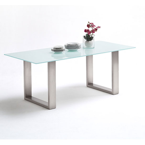 Latest Glass And Stainless Steel Dining Tables Regarding Sayona Glass Dining Table In Pure White And Stainless Steel (View 3 of 20)