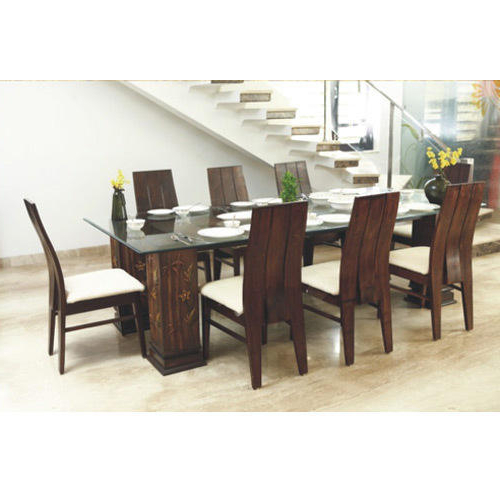 Latest Glass Top Wooden Dining Table At Rs 60000 /set (Gallery 19 of 20)