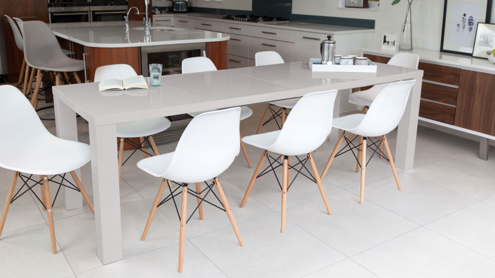 Latest Grey Dining Tables Regarding Grey Gloss Extending Dining Table And Eames Dining Chairs (Gallery 11 of 20)