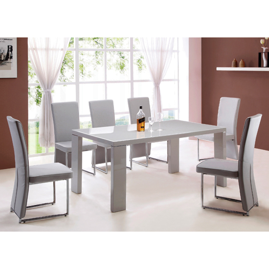 Latest Grey Gloss Dining Tables Intended For Grey Dining Table And Chairs Giovanni High Gloss Grey – Elites Home (Gallery 17 of 20)