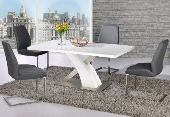 Latest High Gloss White Dining Chairs Throughout Avici Y Shaped High Gloss White Dining Table And 4 Dining (View 2 of 20)