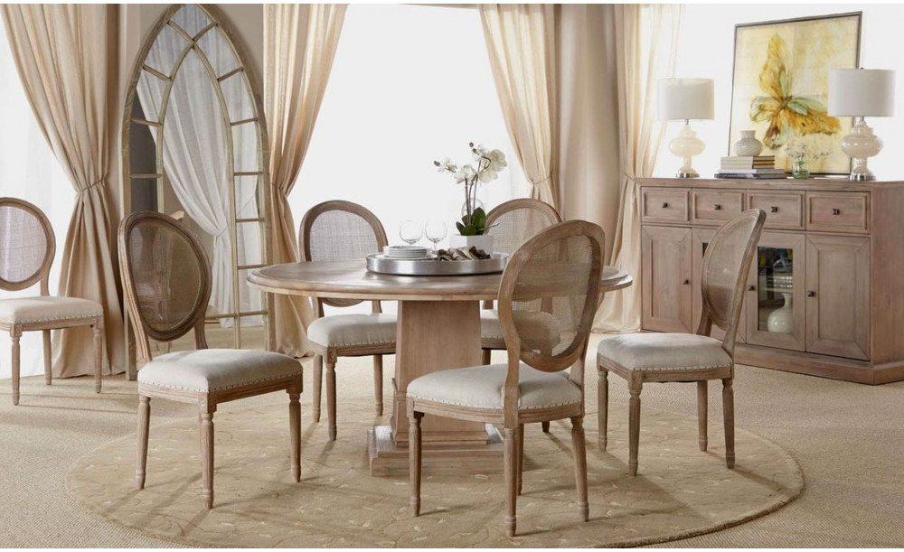 "Latest Hudson Round Dining Tables Within Orient Express Traditions Hudson 60"" Round Dining Table In Stone Wash (View 12 of 20)"