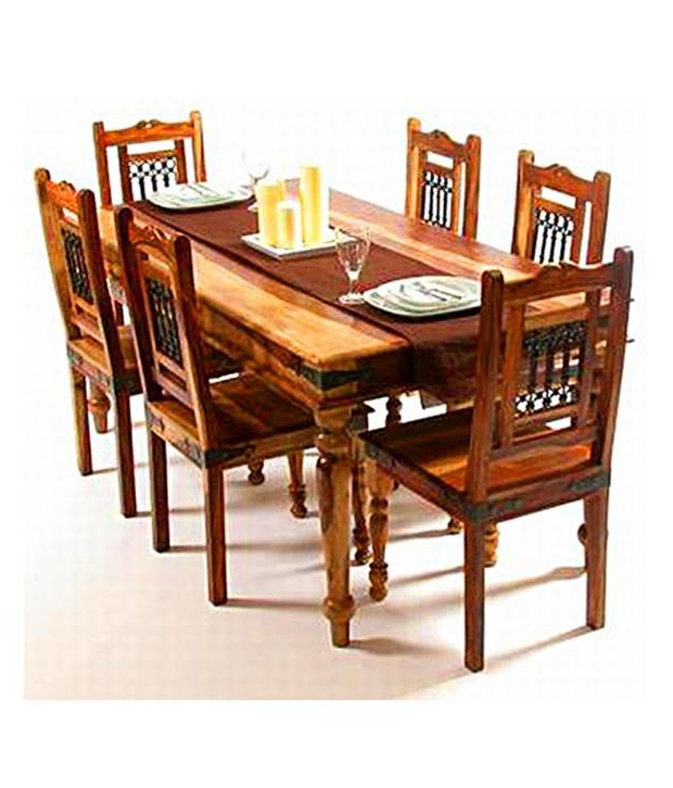 Latest Indian Dining Chairs Throughout Indian Hub – Dining Table Set With 6 Chair – Buy Indian Hub – Dining (Gallery 7 of 20)