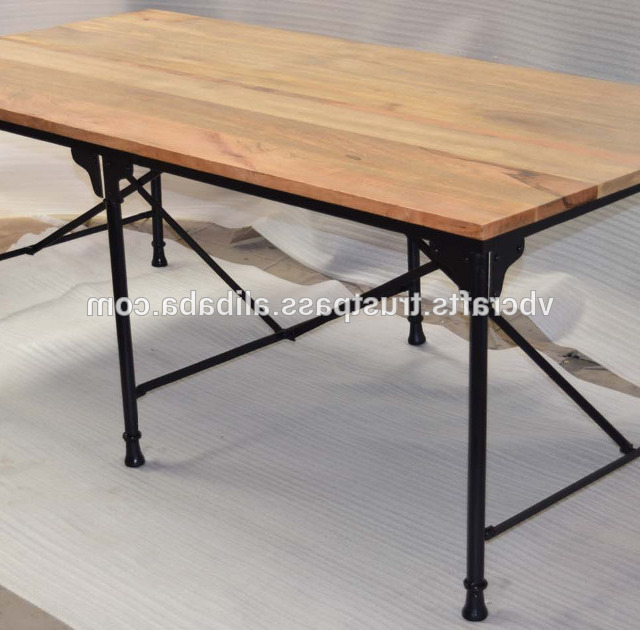 Latest Industrial Metal Dining Table Folding Mango Wood Top – Buy Pertaining To Mango Wood/iron Dining Tables (View 12 of 20)
