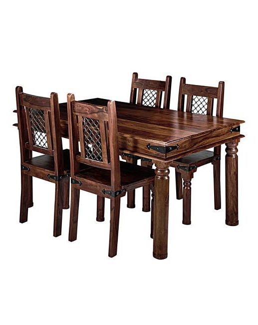 Latest Jaipur Sheesham Dining Table & 4 Chairs (View 4 of 20)