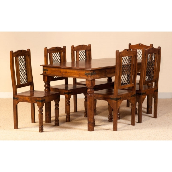 Latest Jali Dining Set With Six Chairs – Sublime Exports Within Indian Dining Chairs (Gallery 13 of 20)