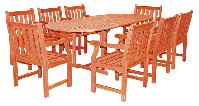 Latest Malibu Outdoor 9 Piece Wood Patio Dining Set, Extension Table Within Craftsman 9 Piece Extension Dining Sets (Gallery 1 of 20)
