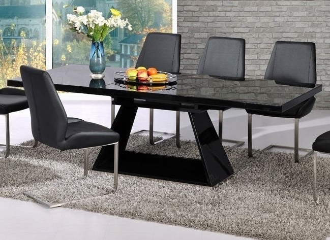 Latest Modern Black High Gloss Extending Dining Table Brushed Steel Base With Regard To Black High Gloss Dining Tables (Gallery 19 of 20)