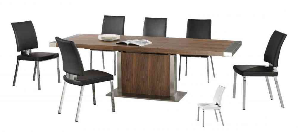 Latest Modern Large Walnut Wooden Extending Dining Table And 6 Chairs For Walnut Dining Table And 6 Chairs (View 12 of 20)