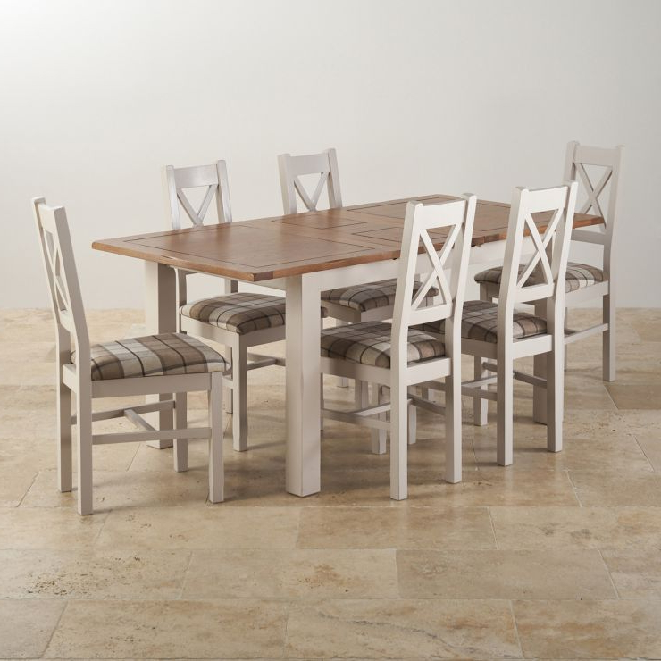 Latest Oak Furniture Dining Sets Inside Kemble Extending Dining Set: Table + 6 Charcoal Fabric Chairs (Gallery 18 of 20)