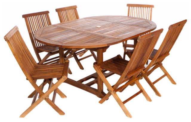 Latest Oval Folding Dining Tables Inside 7 Piece Set Teak Oval Extension Table Folding Chair Set (Gallery 9 of 20)
