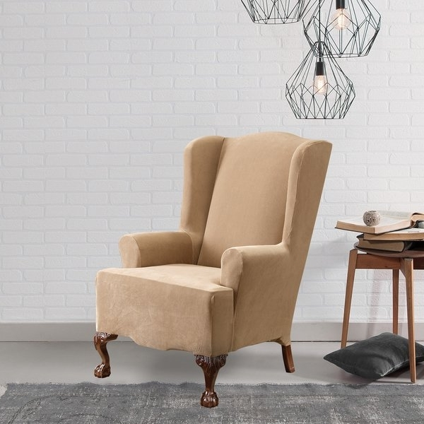 Latest Pearson Grey Slipcovered Side Chairs Inside Shop Sure Fit Stretch Pearson Wingback Chair Slipcover – Free (View 2 of 20)
