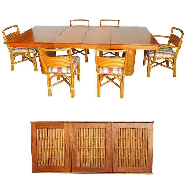 Latest Rare Restored Mid Century Rattan And Mahogany Dining Set With For Mahogany Dining Table Sets (View 6 of 20)