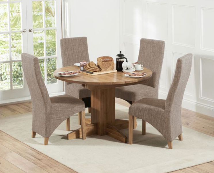 Latest Round Extending Oak Dining Tables And Chairs Pertaining To Dorchester 120cm Solid Oak Round Extending Dining Table With Henley (View 16 of 20)