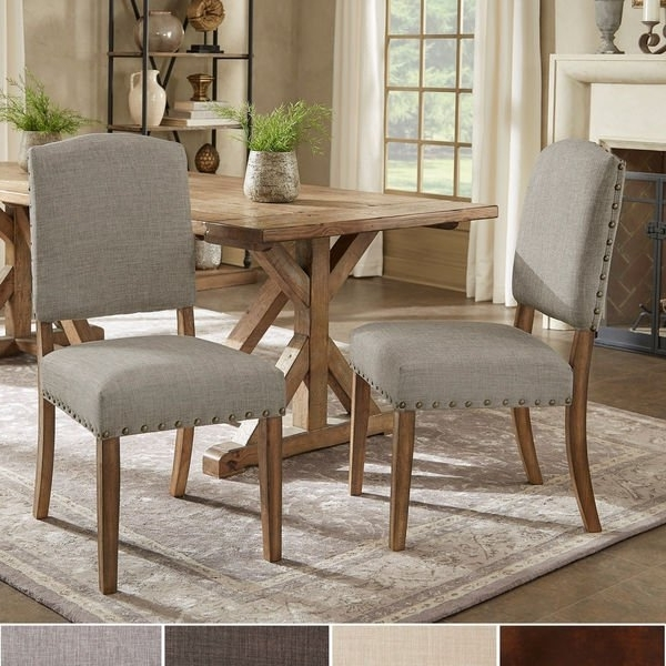 Latest Shop Benchwright Premium Nailhead Upholstered Dining Chairs (Set Of Within Candice Ii 5 Piece Round Dining Sets (Gallery 5 of 20)