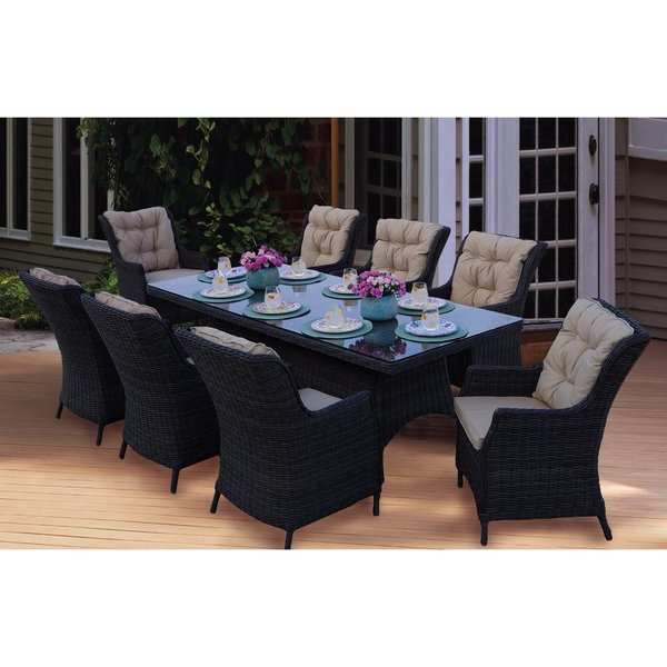 Latest Shop Darlee Valencia Wicker Rectangular 9 Piece Dining Set (1 Table In Valencia 5 Piece 60 Inch Round Dining Sets (View 9 of 20)