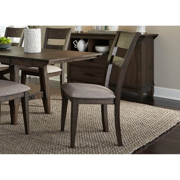 Latest Shop Double Bridge Dark Chestnut Splat Back Side Chair – Free Pertaining To Caira Black 7 Piece Dining Sets With Upholstered Side Chairs (View 9 of 20)