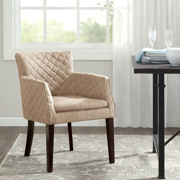 Latest Shop Madison Park Nicole Quilted Back Dining Chair–Cream –  (View 8 of 20)