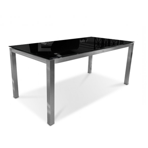 Latest Square Black Glass Dining Tables Throughout Sphere Glass Dining Table 200Cm Black – Glicks Furniture (View 9 of 20)