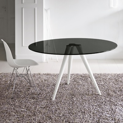 Latest Unity 110Cm Round Smoked Glass Dining Table Within Smoked Glass Dining Tables And Chairs (View 8 of 20)