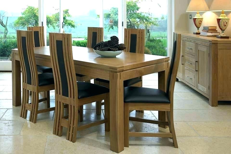 Latest Used Oak Dining Room Table And 6 Chairs Solid Wood With Leather Intended For Extendable Dining Tables 6 Chairs (View 12 of 20)