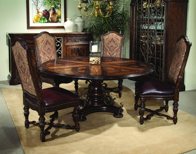 Latest Valencia 5 Piece Round Dining Sets With Uph Seat Side Chairs Regarding Valencia Antique Style Round Table Dining Room Set (Gallery 7 of 20)