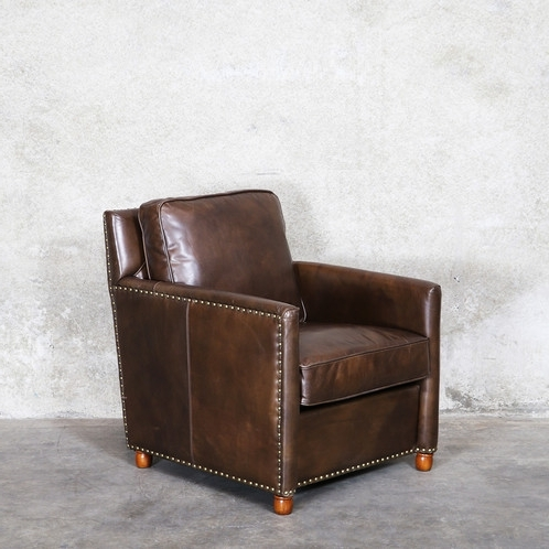 Latest Walden Upholstered Arm Chairs For Walden Leather Armchair – Master Brown (View 9 of 20)