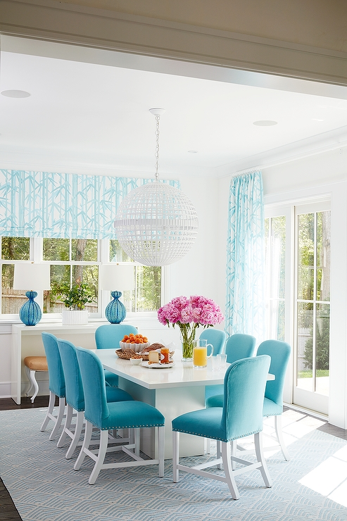 Latest White Dining Table With Turquoise Blue Velvet Dining Chairs Throughout Blue Dining Tables (View 7 of 20)