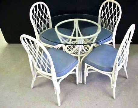 Latest Wicker Glass Table And Chairs Purple Dining Chair Idea About Wicker Intended For Wicker And Glass Dining Tables (View 7 of 20)