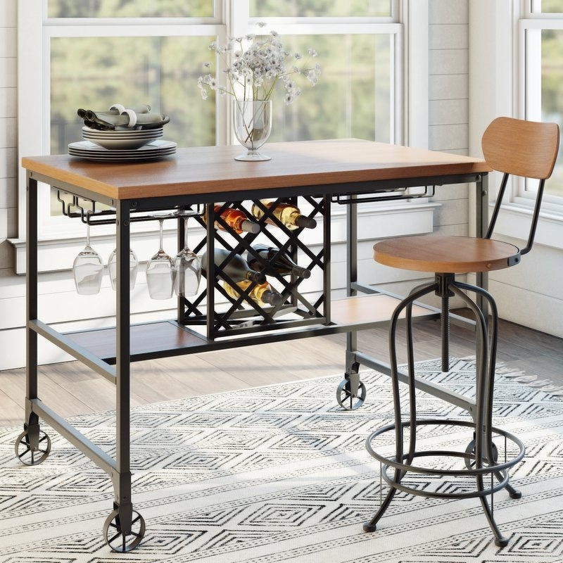 Laurel Foundry Modern Farmhouse Elberton 5 Piece Counter Height Within Recent Caira Black 5 Piece Round Dining Sets With Upholstered Side Chairs (Gallery 14 of 20)