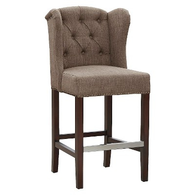 Lauren 27 Counter Stool Hardwood Mushroom Brown With Best And Newest Laurent 7 Piece Counter Sets With Upholstered Counterstools (View 12 of 20)