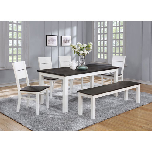 Lauren Traditional 6 Seating Rectangular Casual Dining Table – White With Regard To Current Laurent 7 Piece Rectangle Dining Sets With Wood And Host Chairs (View 3 of 20)