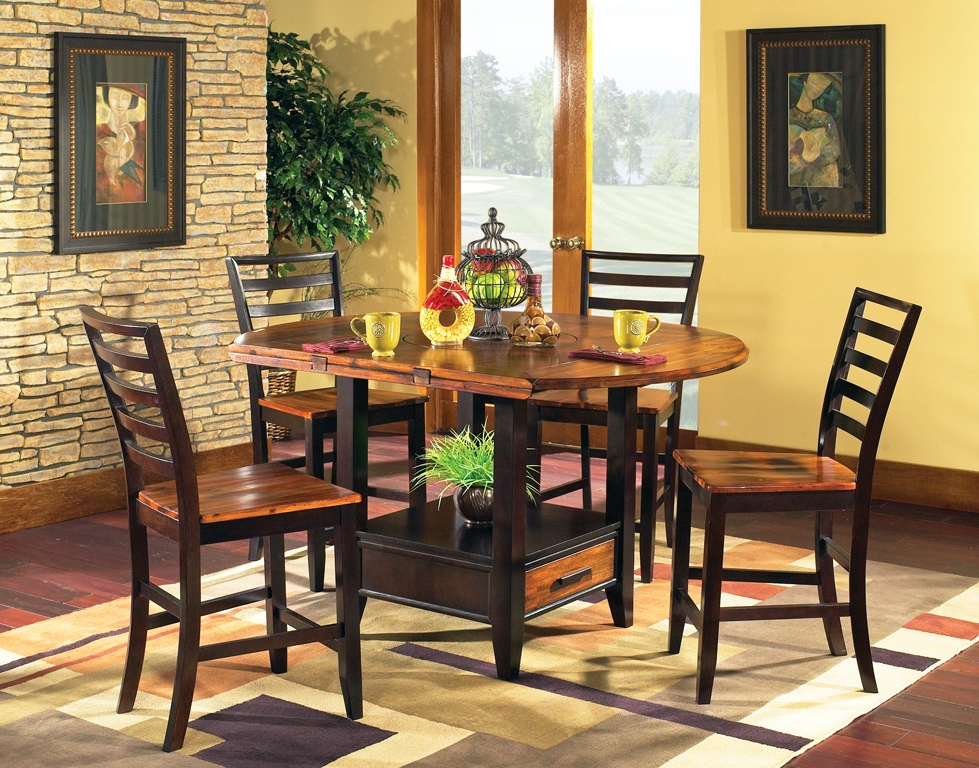 Laurent 5 Piece Round Dining Sets With Wood Chairs Inside Best And Newest Abaco Drop Leaf Dining Set – Steve Silver Co (View 6 of 20)