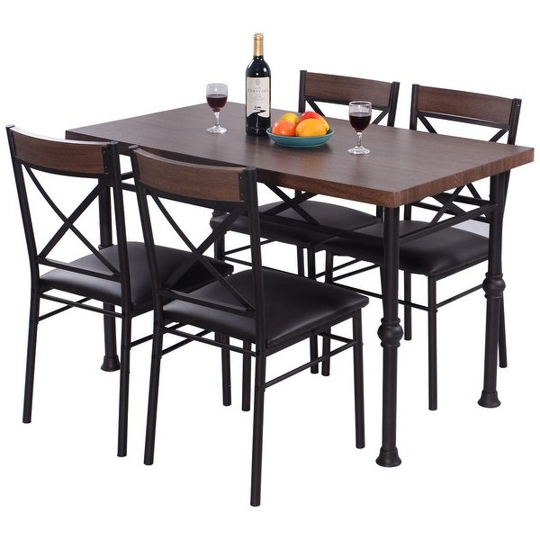 Laurent 7 Piece Counter Sets With Wood Counterstools In Recent Shop Costway 5 Piece Dining Set Table And 4 Chairs Wood Metal (Gallery 5 of 20)