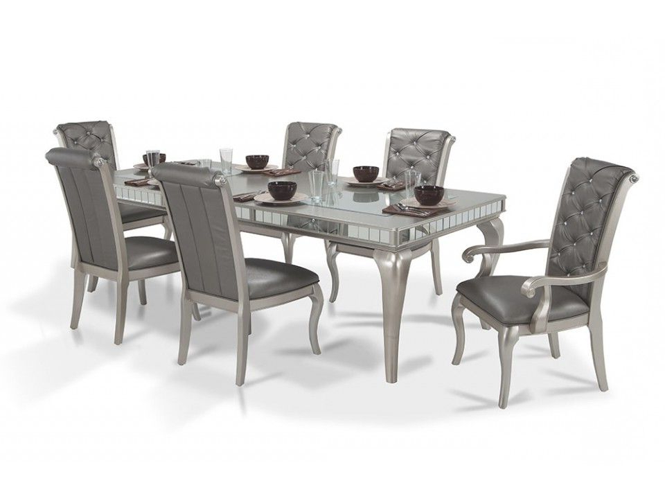 Laurent 7 Piece Rectangle Dining Sets With Wood And Host Chairs Pertaining To 2017 Diva 7 Piece Dining Set (View 13 of 20)