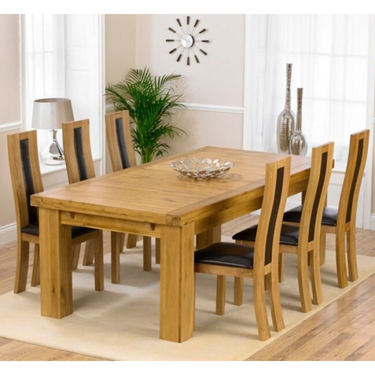 Laurent Oak 230Cm Xl Dining Table & Havana Chairs Set With Regard To Best And Newest Laurent Rectangle Dining Tables (Gallery 9 of 20)
