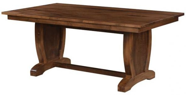 Laurent Rectangle Dining Tables Intended For Current Laurent Hardwood Trestle Dining Table – Countryside Amish Furniture (View 13 of 20)