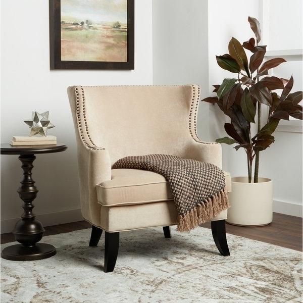 Laurent Upholstered Side Chairs Inside Latest Shop Abbyson Lauren Beige Velvet Nailhead Armchair – On Sale – Free (View 15 of 20)
