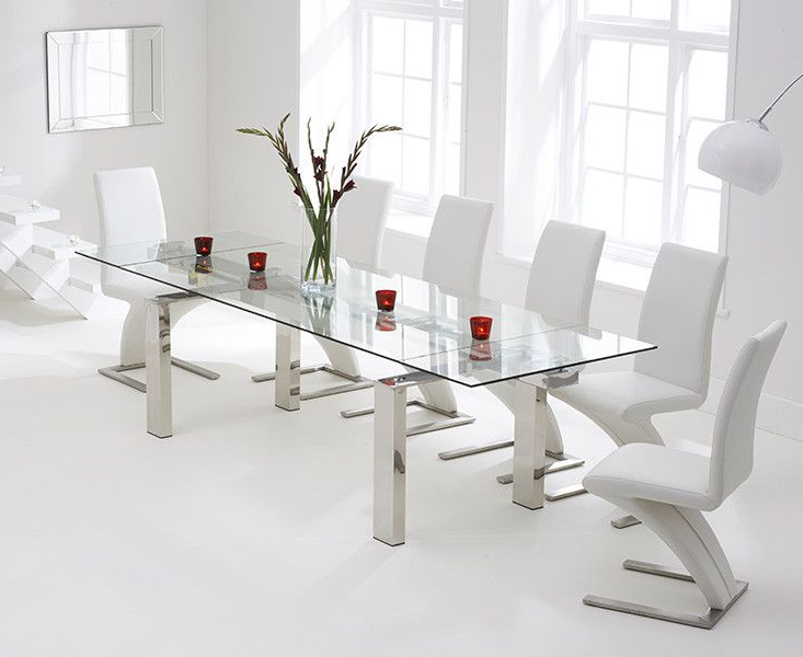 Lazio 200Cm Extending Glass Dining Table With Hampstead Z Chairs Within Widely Used Lazio Dining Tables (Gallery 11 of 20)